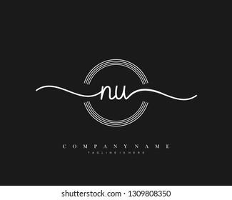 NU initial handwriting logo template vector
