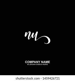 NU Initial handwriting logo vector