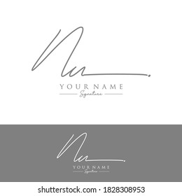 NU Initial letter handwriting and signature logo.