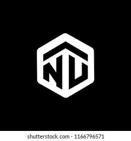 NU Initial letter hexagonal logo vector