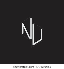 NU Initial Letters logo monogram with up to down style isolated on black background