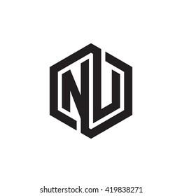 NU initial letters looping linked hexagon monogram logo