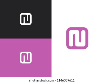 NU initial letters monogram icon. Linear logo in square rounded shape. Simple vector sign illustration in a modern style.