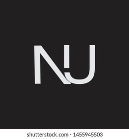 NU initial logo Capital Letters black background