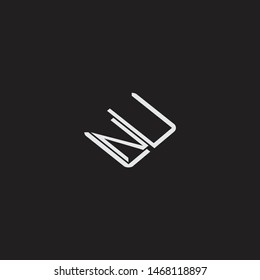 NU Initial Logo letters with rotate squere template