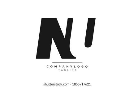 NU initials monogram letter text alphabet logo design