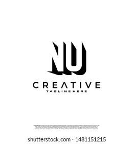 NU Letter Initial Logo Design in shadow shape design concept