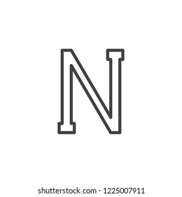 Nu letter outline icon. linear style sign for mobile concept and web design. Greek alphabet symbol simple line vector icon. Symbol, logo illustration. Pixel perfect vector graphics