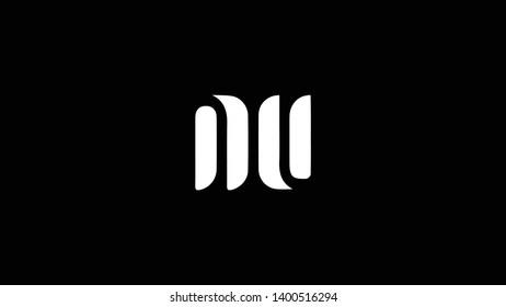 NU logo design template vector illustration minimal design