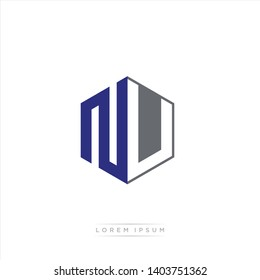 NU Logo Initial Monogram Negative Space Design Template With Blue Navy and Grey color