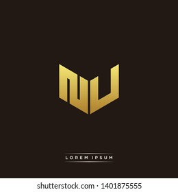 NU Logo Letter Initial Logo Designs Templete with Gold and Black Background