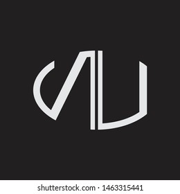 NU Logo letter oval monogram design template with black and white colors