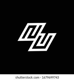 NU logo monogram with up to down style negative space design template isolated on black background