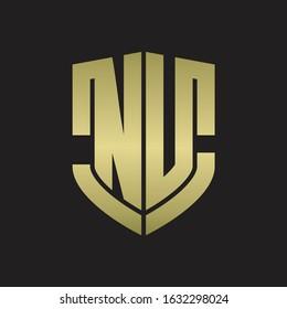 NU Logo monogram with emblem shield shape design isolated gold colors on black background