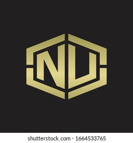 NU Logo monogram with hexagon shape and piece line rounded design tamplate on gold colors