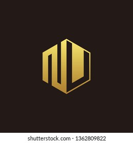 NU Logo Monogram with Negative space gold colors