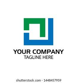 NU logo template, NU letter, flat design. vector