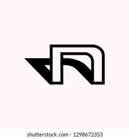 NU / N letter vector logo. Vector