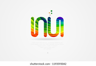 nu n u alphabet letter logo icon combination design with rainbow color