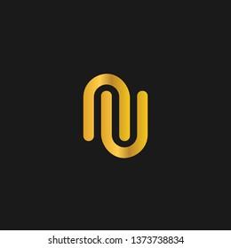 NU or N U letter alphabet logo design in vector format.