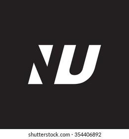 NU negative space letter logo black background