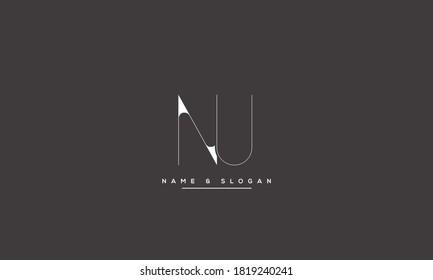 NU UN abstract vector logo monogram template