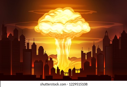 Nuclear blast vector illustration, nuclear bomb explosion background, burning city panorama landscape.