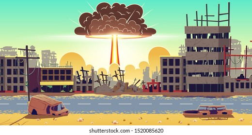 Nuclear bomb explosion in ruined city. Fiery mushroom, cloud of atomic bomb detonation raising under ruins. Mass destruction weapon in war conflict, nuclear catastrophe cartoon vector illustration