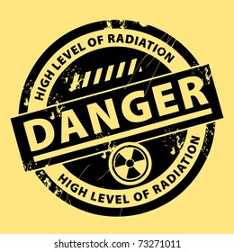 Nuclear danger warning stamp, vector illustration