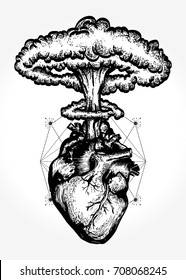Nuclear explosion of anatomical heart t-shirt design surreal graphic. Symbol of love, feelings, energy