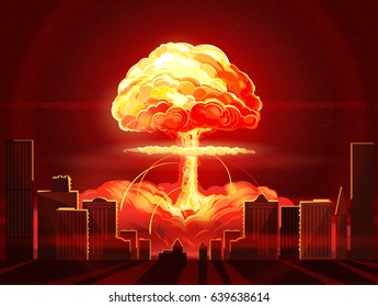 Nuclear explosion. Atomic bomb in city. Symbol of nuclear war, end of  world,  dangers of nuclear energy