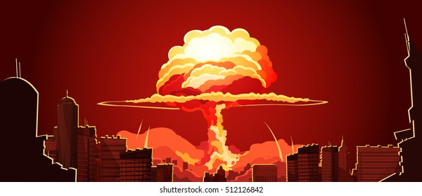 Nuclear explosion bright orange fiery mushroom cloud cap in city center retro cartoon poster abstract vector illustration