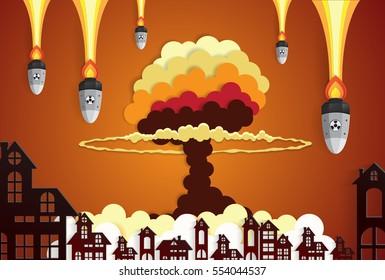 Nuclear explosion bright orange fiery mushroom cloud cap in city center,paper art style