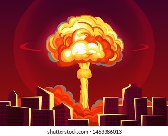 Nuclear explosion in city. Atomic bombing, bomb explosion fiery mushroom cloud and war destruction. Apocalipce detonation, dangerous destruction war technology comic cartoon vector illustration