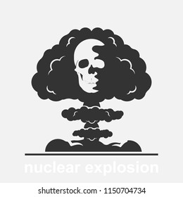 Nuclear explosion with human skull vector illustration isolated on white background. International day against nuclear tests.