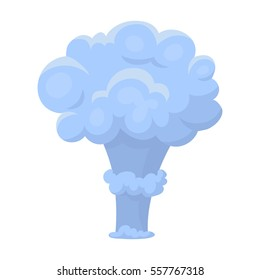 Nuclear explosion icon in cartoon style isolated on white background. Explosions symbol stock vector illustration.