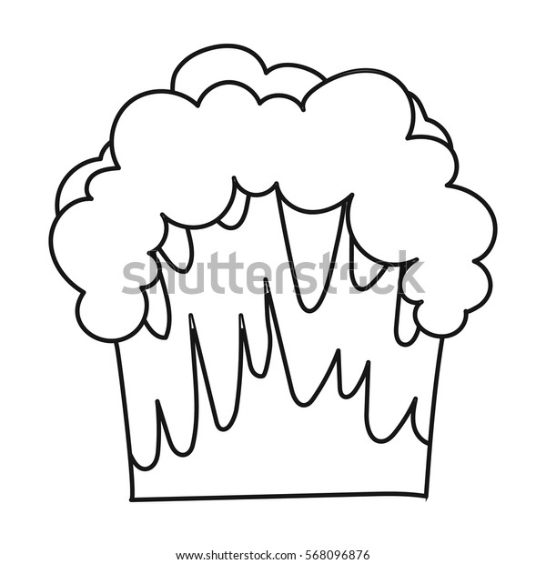 Nuclear explosion icon in outline style isolated on white background. Explosions symbol stock vector illustration.