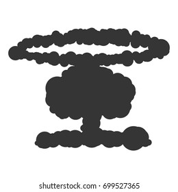 Nuclear explosion sign illustration. Vector. Black icon on white background.
