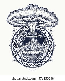 Nuclear explosion tattoo art. Symbol of destruction and death, end of world, last war, tsunami and nuclear explosion t-shirt design