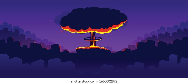 Nuclear explosion vector illustration, apocalypse theme, world war 3, atomic bomb mushroom Armageddon.