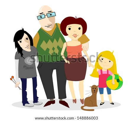 nuclear family cat stock vector royalty free 148886003 shutterstock