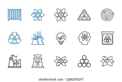 nuclear icons set. Collection of nuclear with atom, industry, atomic, nuclear plant, factory, radiation, renewable energy, atoms, radiator. Editable and scalable icons.