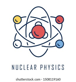 Nuclear physics color icon. Atomic structure model. Electrons, neutrons and protons. Subatomic molecular particles. Atom core elements. Nuclear matter and power. Isolated vector illustration