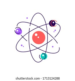 Nuclear physics color icon. Atomic structure model. Electrons, neutrons and protons. Subatomic molecular particles. Atom core elements. Nuclear matter and power. Isolated flat line vector illustration