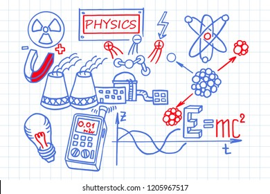 Nuclear physics. Scientific knowledge, formulas. Retro education and scientific background.  Vector hand-drawn illustration on workbook.