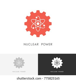 Nuclear power logo - atom and gear wheel or pinion symbol. Atomic energy, industry and ecology vector icon.