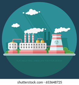 Nuclear power plant and factory. Atom, radiation energy industrial concept, station background. Environmental theme. Flat Vector background illustration
