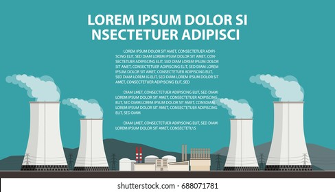 Nuclear power plant and factory. Vector illustration in flat style.