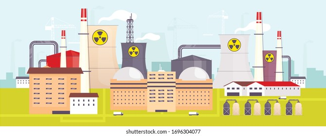 Nuclear power plant flat color vector illustration. Industrial facility 2D cartoon landscape with atomic reactors on background. Energy manufacturing station, electricity production factory panorama
