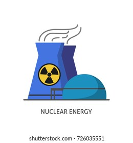 Nuclear power plant icon in flat style. Non-renewable energy source symbol isolated on white background.